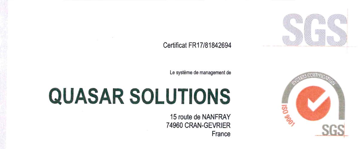 Quasar Solutions Obtient Sa Certification Iso 9001 2015 Quasar